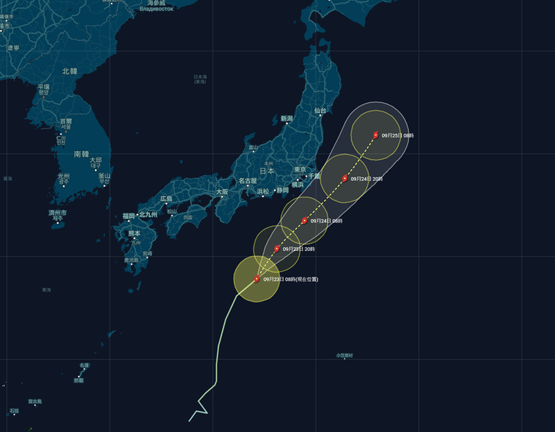 """第12号台风""""白海豚""""将登陆日本本州岛,请大家注意防范台风"""