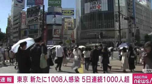 日本全国连续5天确诊超过3000人,东京18日新增感染人数1008人......