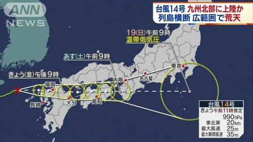 14号台风将在周末横穿日本,注意提前做好出行准备,14号台风或成为今年台风王